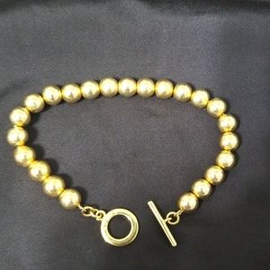 Goldtone beaded CHAPS toggle bracelet